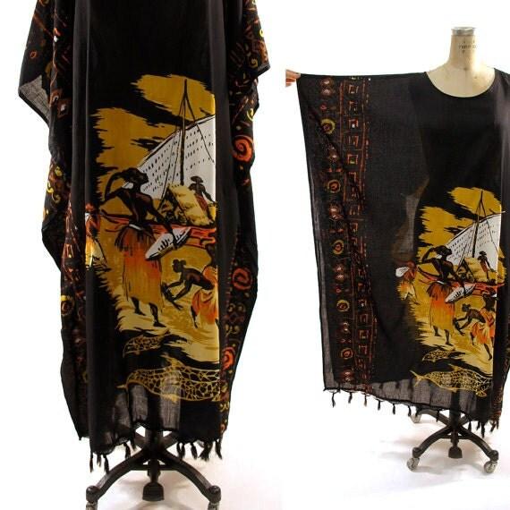 RESERVED for jameshallny 80s African Batik Caftan with Fringe Trim OVERNIGHT SHIPPING