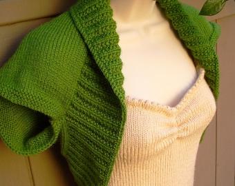 Green Apple Knit Shrug-Medium  green kelly apple bolero shrug wrap sweater vest wedding bridal prom evening formal cover-up