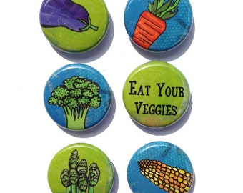 Eat Your Vegetable Magnets or pins - 1 inch fridge magnet or pinback button set, veggies, vegetarian, healthy eating food, carrot, broccoli