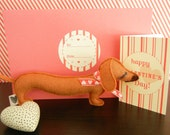 BBQ the Dachshund Doxie Mini Valentines Day Hearts Wool Felt Applique Plush Doll Pillow with Note Card