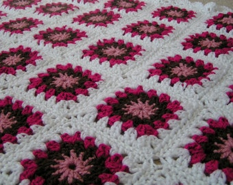 Granny Square Afghan for  Baby  Girl in Pink, White and Brown Ready to Ship