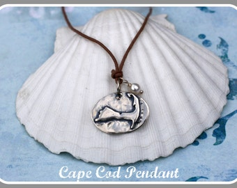 Cape Cod Map Pendant Necklace on adjustable waxed cotton. Great for Summer.