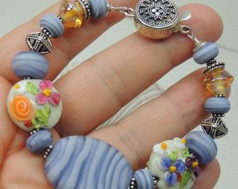 SALE SPRING BOUQUET Handmade Lampwork Bead Bracelet