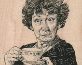 Lady with cup of tea    rubber stamp 17861 house wife tv craft stamping supplies scrapbooking