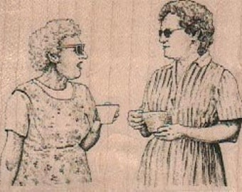 Rubber stamp Woman gossiping over tea  cling stamp, unmounted or wood Mounted  scrapbooking supplies number 18870