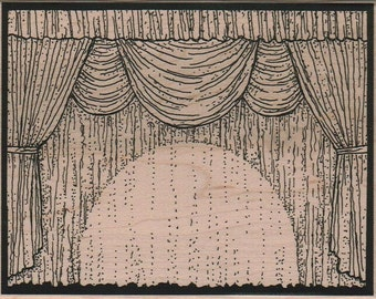 Stage Curtains theater stamp unMounted   rubber stamp    stamp number 16105