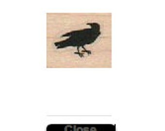 Rubber stamp  Steampunk  supplies Poe Small Crow  3/4raven wood Mounted   18917