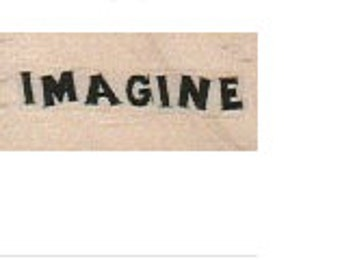 Rubber stamp Imagine  Quote wood Mounted  scrapbooking supplies number 18252