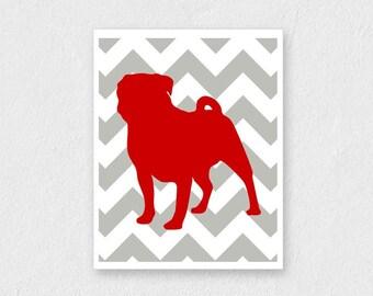 Pug Wall Art - ANY COLOR - Pug Illustration, Pug Print,  8x10 Pug Silhouette Print for Dog Lovers - Home Decor - Red and Grey Chevron