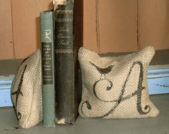 Bird Monogram - Petit Burlap Feed Sack Pillow Pair - Unique paper weight, bookends, pin cushion, etc