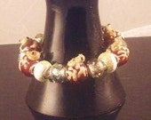 Frog Totem European  theme Bracelet smokey topaz glass beads earthy brown frogs and pebble  beads