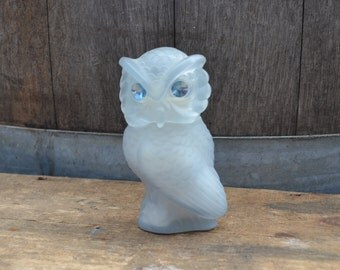 Owl Avon Bottle -Frosted - Blue Rhinestones - Snow Owl - Royal Hill Vintage