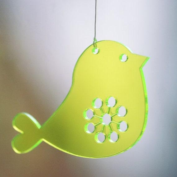 2 Birds - in neon green transparent plexiglas
