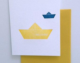 Bon Voyage, paper boat letterpress card