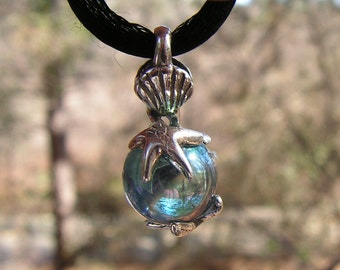 Sterling Silver Starfish And Seashell Pendant With Aqua Aura