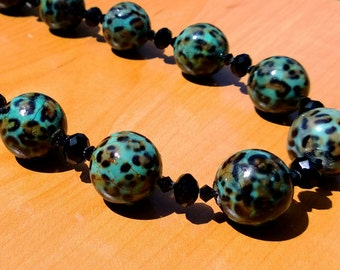 Kat - Leopard and black crystal necklace