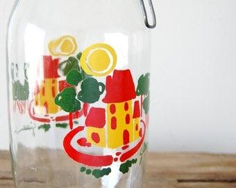 vintage 2L storage canning jar / 2 Liter Ermetico Glass Jar / vintage food storage / Yellow Red Green / Carlton USA / urban cottage