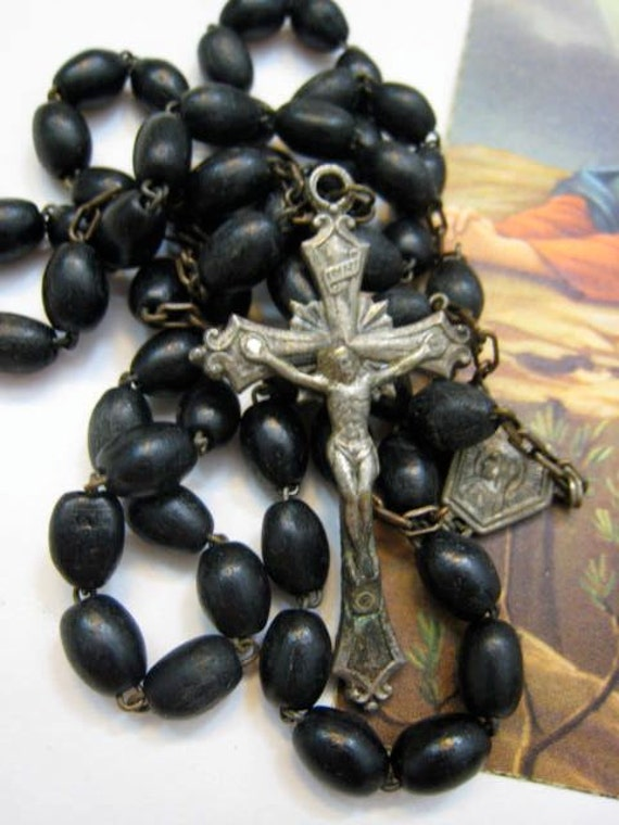 Vintage 1950s Ebony Wood Black Rosary Beads Silver Cross Crucifix