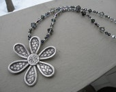 Necklace - Crystal and Flower Pendant Sterling silver and swarovski - one of a kind -neutral color - spring fashion