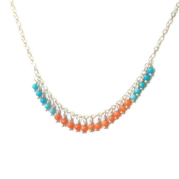 Dainty Beaded Necklace Coral Turquoise Necklace Petite Beads Color Blocked Necklace Sterling Silver
