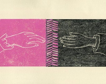 Something Happens When We Touch hand pulled linocut print