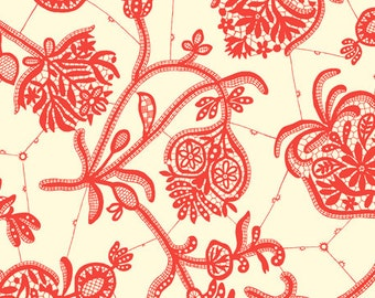 Amy Butler Lark Collection Souvenir Ivory Red Floral Cotton Fabric by the yard from Shereesalchemy