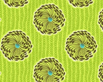 Amy Butler Soul Blossom Lime Brown Floral cotton Fabric by the yard