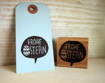 Frohe Ostern (speech bubble)  - rubberstamp - 40x40mm