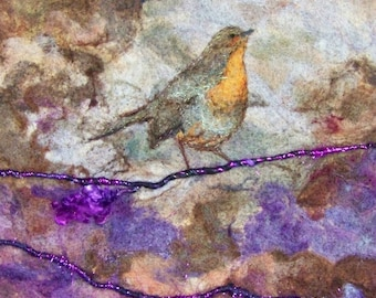 No.747 Robin - Needlefelt Art XL - Wool Painting