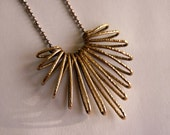 Chevron Pendant in Gold Brass on Ball Chain