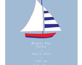Custom Birth Announcement cute sail boat 8 x 10 inch print in 11 x14 inch white mat