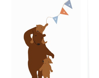 fathers day greeting card  bear with 2 cubs dad banner