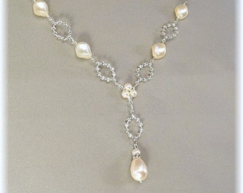 Cream Pearls - Dainty Rhinestone Pearl Drop Wedding Necklace, Rhinestone Diamond Crystal Ovals, Y Necklaces, Bridesmaid Necklaces
