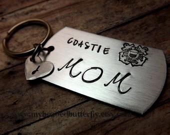 Coast guard keychain-USCG-Coastie-coastie mom-coastie dad-coast guard insignia-with heart