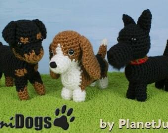 PDF Special Deal - AmiDogs (Set 7) 3 amigurumi dog CROCHET PATTERNS