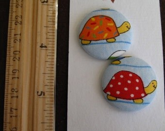 """Wearable Sew On Fabric Covered Buttons - Size 45 or 1 1/8"""" Turtles"""