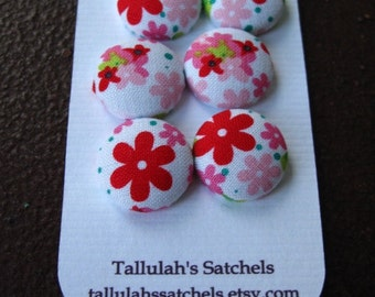 Wearable Sew On Fabric Covered Buttons - Size 30 or 3/4 inch Pink and Red Flowers