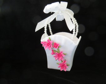 Flower Girls Basket with pink cold porcelain Flowers