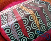 Checkbook Cover with Festive Rainbow of Paper Streamers, Mod Circles in a Vinyl Sleeve