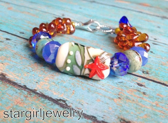 Seaside glass focal lampwork glass beaded weave bracelet...lampwork glass beads by Marianna