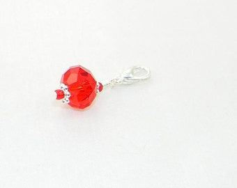 Birthstone handmade lobster claw charm for link bracelets and necklaces, Clip on charm, Purse charm, backpack charm, Zipper, Made to order