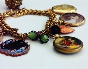 Antique Gold Charm Bracelet 'VICTORIANA' Pocket Watch Charm Bracelet Antique Charms Picture Charm Bracelet