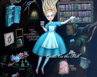 Alice In Wonderland - Down The Rabbit Hole - Original painting