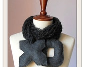 Kiss and Hug XO - Handmade Felt Dark Grey Gray Fashion Scarf