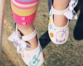 Fresh Beat Band inspired shoes - hand painted instruments onto white sparkley maryjanes with musical notes and polka dots for girls