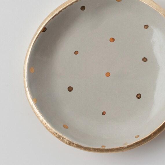 Gray and Gold Dot Dish