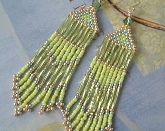 Long Fringe Earrings Lime and Gold and Metallic Seed Bead Earrings