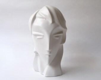 1980s Modernist Deco Ceramic Head Sculpture Lindsey B