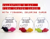 Kids' Valentine's Day CRAYON FISH CARDS, Classroom Party Pack of Favors Toys, Coloring Cards, Birthday Party Favor Crayons