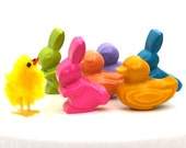 Kids' DUCKS and BUNNIES CRAYONS, Easter Basket Treats, Valentine's Day, Birthday Party Favors, Set of (6) For Girls & Boys, Free Gift Box